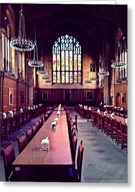 Hall Glass Art Greeting Cards - Procter Hall at Princeton University Greeting Card by Anna Porter