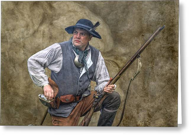 Brigade Greeting Cards - Proctors Militia Militiaman Greeting Card by Randy Steele