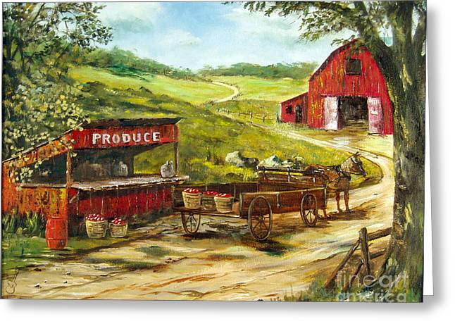 Farm Stand Greeting Cards - Produce Stand Greeting Card by Lee Piper