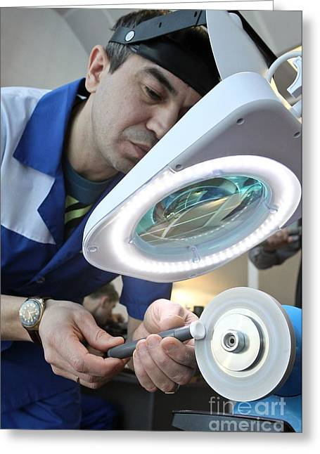 Component Photographs Greeting Cards - Producing A Small Joint Replacement Greeting Card by Ria Novosti