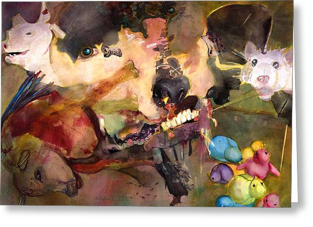 Sacred Bull Greeting Cards - Profane Abuse of Animals Greeting Card by Susan Cafarelli Burke