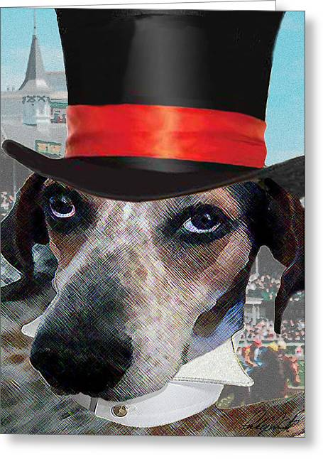 Dog Race Track Greeting Cards - Professor Poses At The Derby Greeting Card by Michele  Avanti