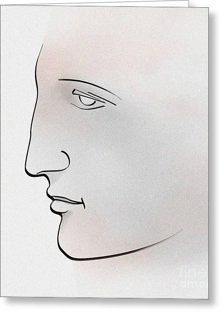 Greek Sculpture Digital Art Greeting Cards - Profile ancient greek Greeting Card by Christian Simonian