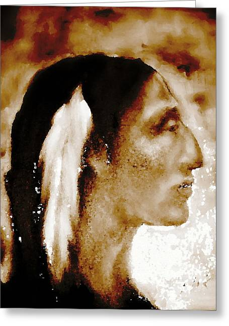 Native American Theme Greeting Cards - Profile in Sepia Greeting Card by Johanna Elik