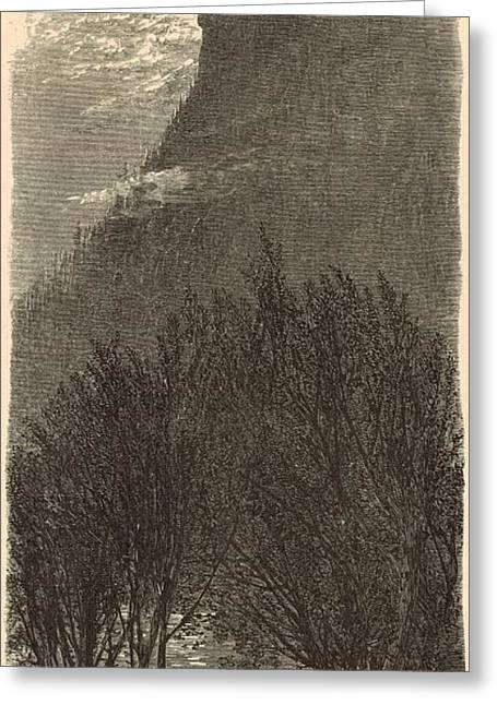 Mt Drawings Greeting Cards - Profile Mountain New Hampshire 1872 Engraving Greeting Card by Antique Engravings