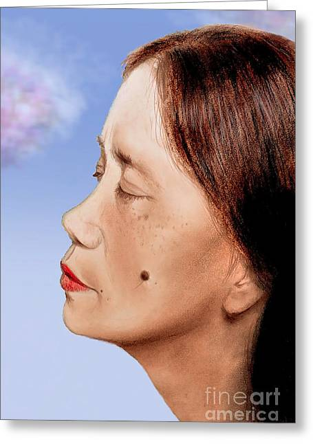 Beauty Mark Mixed Media Greeting Cards - Profile of a Filipina Beauty with a mole on Her Cheek Altered Version Greeting Card by Jim Fitzpatrick