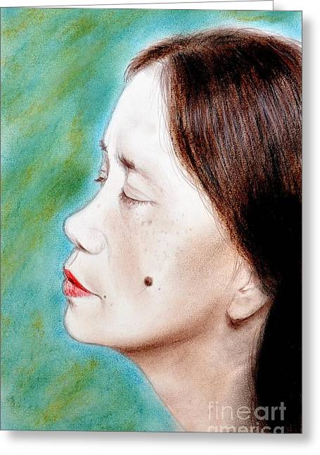 Beauty Mark Mixed Media Greeting Cards - Profile of a Filipina Beauty with a mole on Her Cheek  Greeting Card by Jim Fitzpatrick