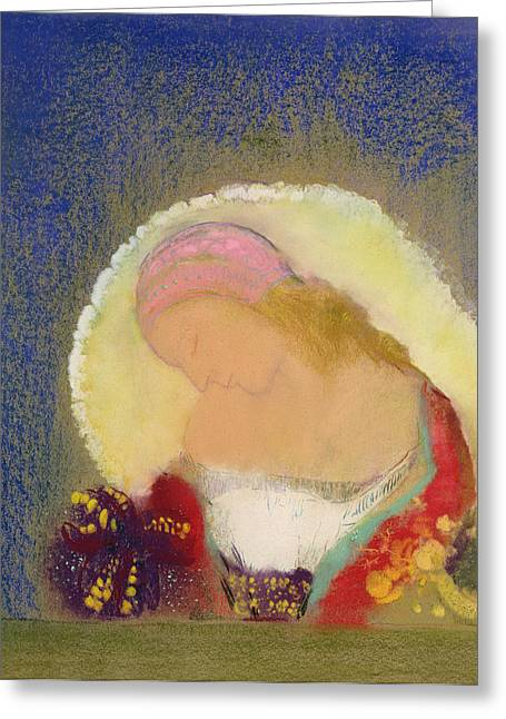 Flower Still Life Prints Greeting Cards - Profile of a Girl with Flowers Greeting Card by Odilon Redon