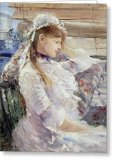 Morisot Canvas Greeting Cards - Profile of a seated young woman Greeting Card by Berthe Morisot