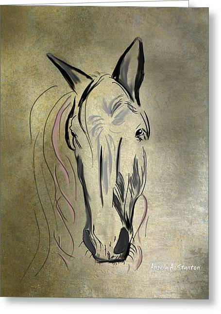 Profile Of A White Horse Greeting Card by Angela A Stanton