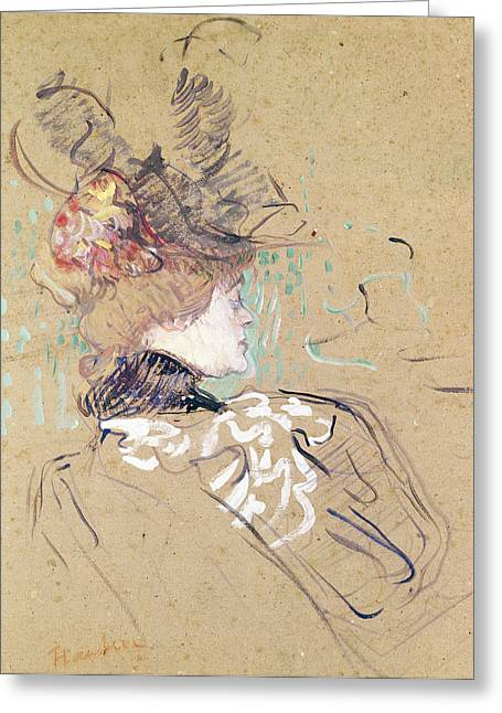 Belles Drawings Greeting Cards - Profile of a woman Greeting Card by Henri de Toulouse-Lautrec