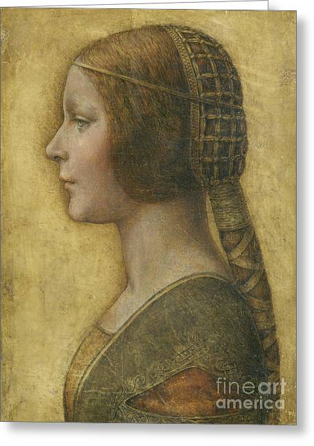 Female Portrait Greeting Cards - Profile of a Young Fiancee Greeting Card by Leonardo Da Vinci