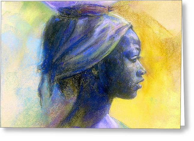 African-american Pastels Greeting Cards - Profile Of A Young Fulani Girl  Greeting Card by Tyrone Geter