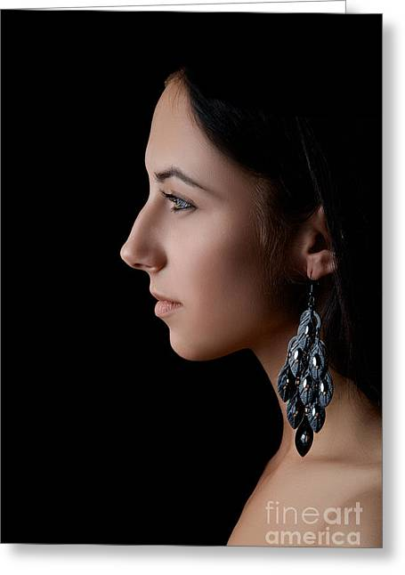 Pensive Greeting Cards - Profile Of Girl Greeting Card by Aleksey Tugolukov