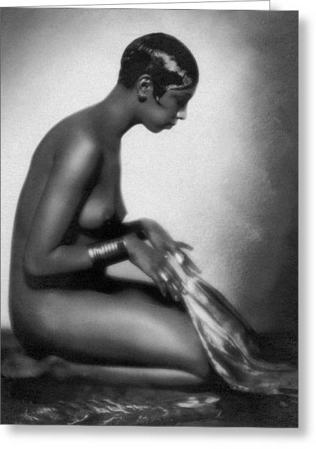 Profile Of Josephine Baker Greeting Card by Underwood Archives