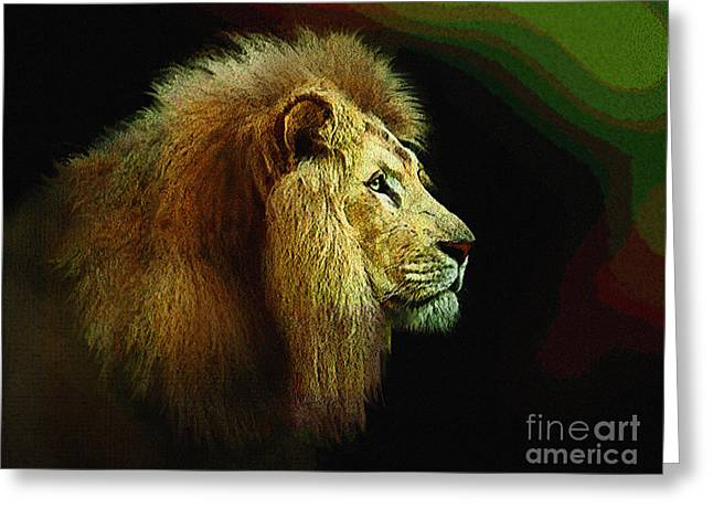 Narnia Greeting Cards - Profile of the lion King Greeting Card by Robert Foster