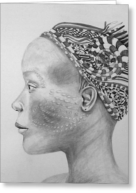 African Inspired Art Greeting Cards - Profile Pattern Greeting Card by AnnCharlotte Tavolacci