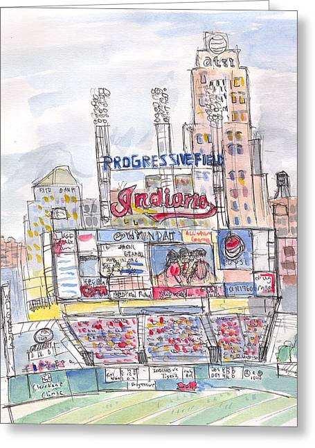 Baseball Stadiums Paintings Greeting Cards - Progessive Field Greeting Card by Matt Gaudian