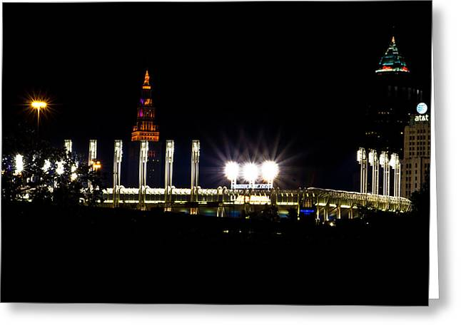 Progressive Field Greeting Cards - Progressive Field and Cleveland Greeting Card by John McGraw
