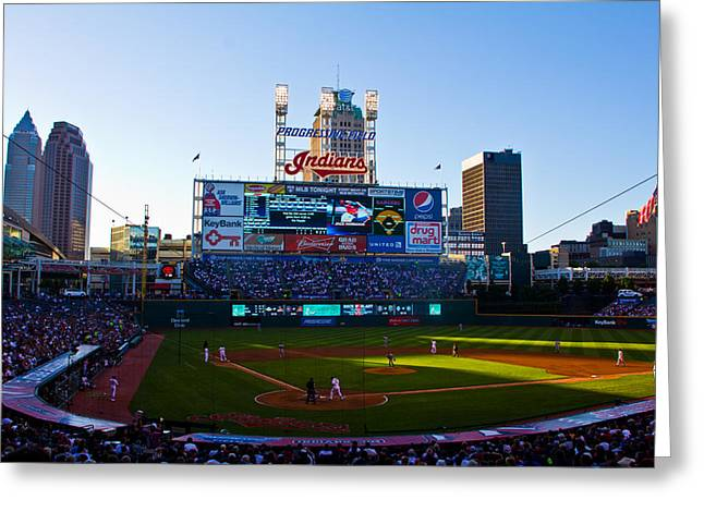 Progressive Field Greeting Cards - Progressive Field in Cleveland Ohio Greeting Card by John McGraw