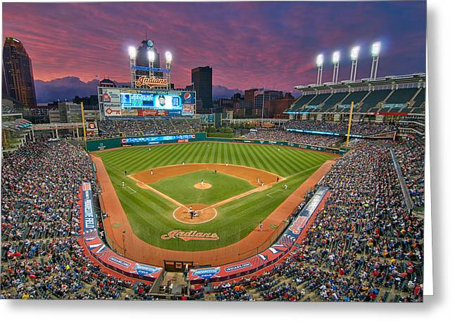 Progressive Field Greeting Cards - Progressive Field Sunset Greeting Card by Mark Whitt