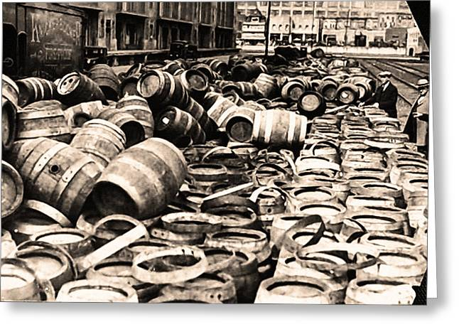 Bootleg Greeting Cards - Prohibition - Empty Kegs Greeting Card by Digital Reproductions