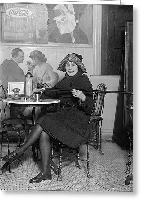 Fed Greeting Cards - Prohibition Furtive Drink 1922 Greeting Card by Daniel Hagerman