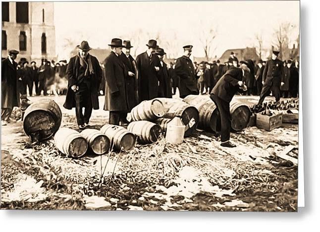 Bootleg Greeting Cards - Prohibition - Smashing of Kegs Greeting Card by Digital Reproductions