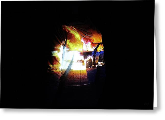 Discrimination Greeting Cards - Projection - Body - Car Fire #1 Greeting Card by Conor OBrien