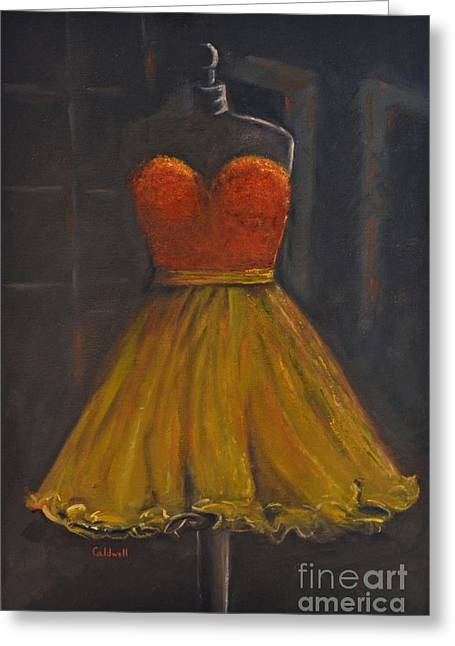 Strapless Dress Paintings Greeting Cards - Prom Dress Greeting Card by Patricia Caldwell