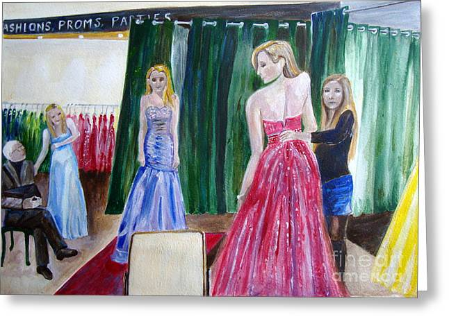 Veronica Rickard Greeting Cards - Prom Dress - painting Greeting Card by Veronica Rickard