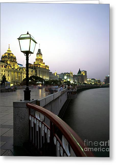 Bund Shanghai Greeting Cards - Promenade Along The Huangpo River Greeting Card by Rafael Macia
