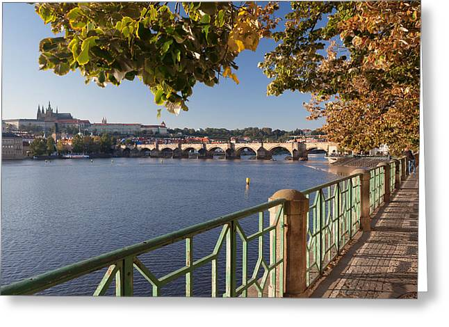 St Charles Bridge Greeting Cards - Promenade Along Vitava River Greeting Card by Panoramic Images