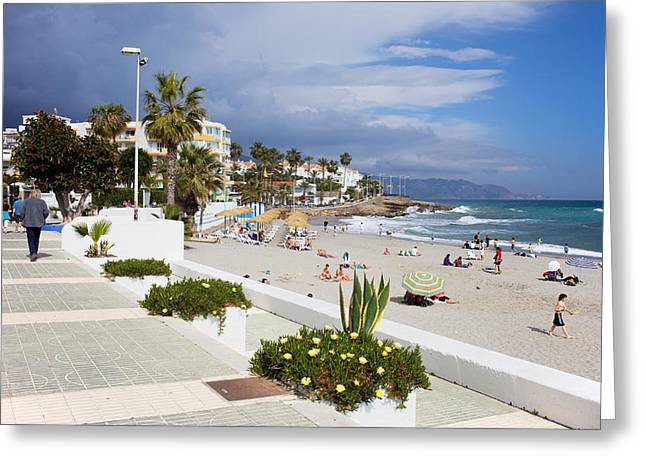 Sunbathing Greeting Cards - Promenade and Beach in Nerja Greeting Card by Artur Bogacki