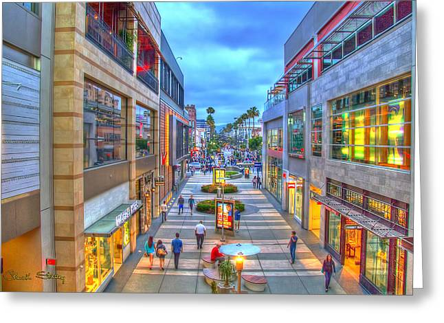California Tourist Spots Greeting Cards - Promenade at Dusk Greeting Card by Charles Staley