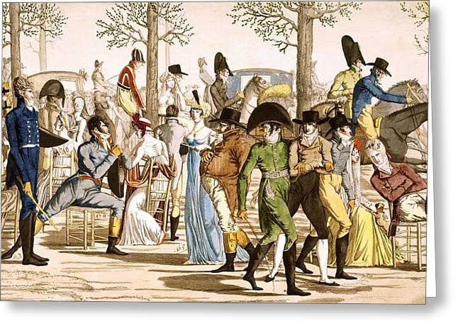 Caricature Drawings Greeting Cards - Promenade At Longchamps, 1802 Greeting Card by French School