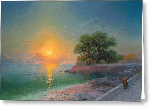 Reflections In River Greeting Cards - Promenade at Sunset Greeting Card by Ivan Konstantinovich Aivazovsky