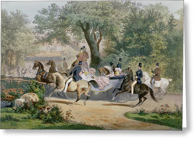 Bois Greeting Cards - Promenade Au Bois Colour Litho Greeting Card by Eugene Charles Francois Guerard