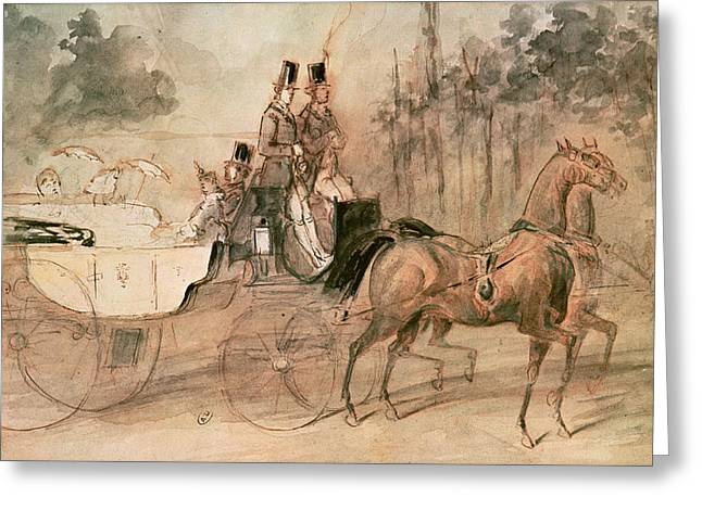 Horse-drawn Greeting Cards - Promenade Au Bois Pen & Ink And Wc On Paper Greeting Card by Constantin Guys