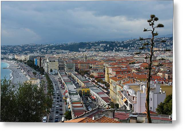 Cours Saleya Greeting Cards - Promenade des Anglais and Cours Saleya from Above - Nice France French Riviera Greeting Card by Georgia Mizuleva