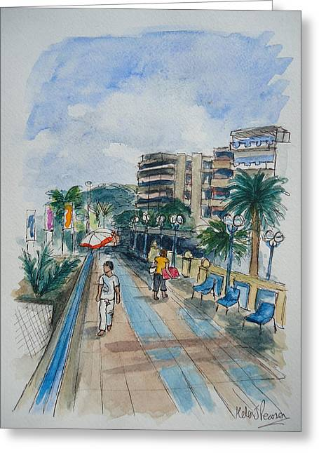 South Of France Mixed Media Greeting Cards - Promenade Greeting Card by Helen J Pearson
