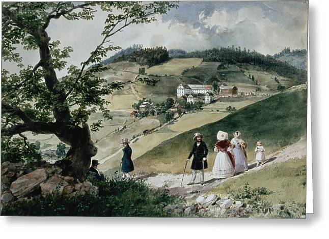 Hungarian Greeting Cards - Promenade In Tabon Wc On Paper Greeting Card by Miklos Barabas
