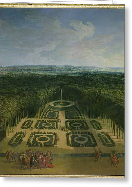 Promenade Of Louis Xiv 1638-1715 In The Gardens Of The Grand Trianon, 1713 Oil On Canvas Greeting Card by Charles Chastelain