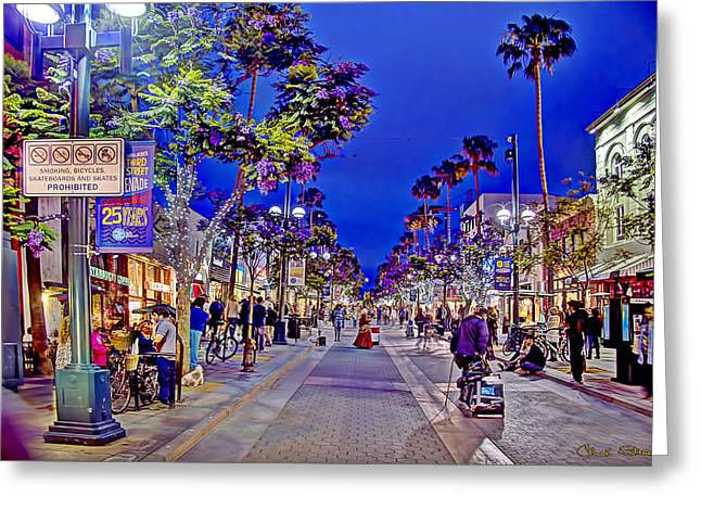 California Tourist Spots Greeting Cards - Promenade Street Performance Greeting Card by Charles Staley