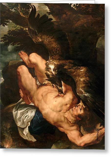 Prometheus Greeting Cards - Prometheus Bound Greeting Card by Peter Paul Rubens