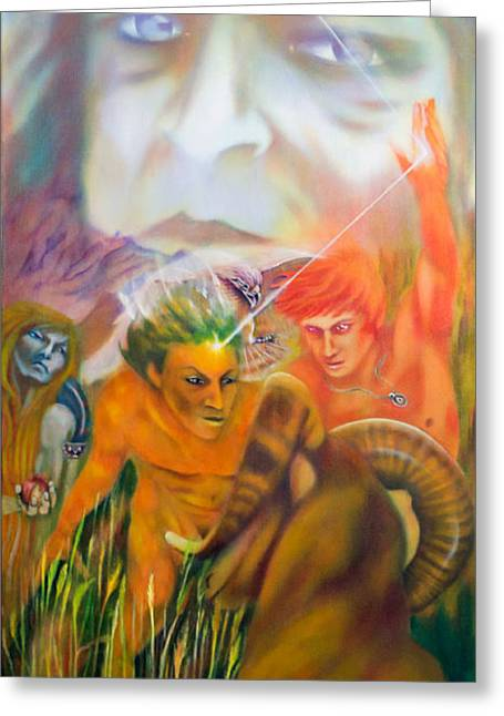 Mythology Greeting Cards - Prometheus detail Greeting Card by Roger Williamson