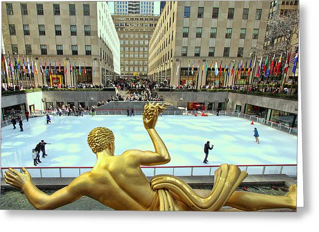 Nole Greeting Cards - Prometheus from Behind - Rockefeller Center Greeting Card by Allen Beatty