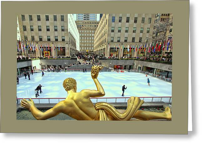 Noles Greeting Cards - Prometheus from Behind - Rockefeller Center Greeting Card by Allen Beatty