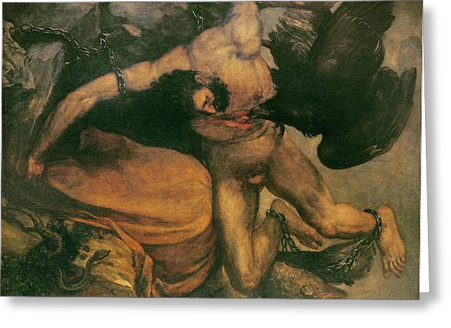 Greek Myths Greeting Cards - Prometheus Oil On Canvas Greeting Card by Francisco Jose de Goya y Lucientes