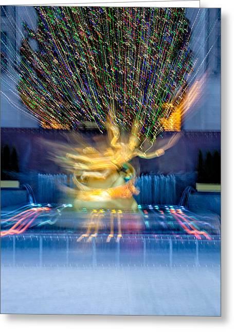 Prometheus Greeting Cards - Prometheus Statue Rockefeller Center Zoom NYC Greeting Card by Susan Candelario